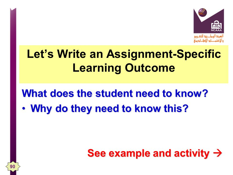 Let's Write an Assignment-Specific Learning Outcome