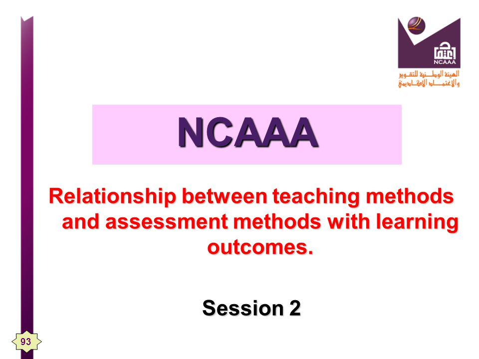 NCAAA Relationship between teaching methods and assessment methods with learning outcomes. Session 2
