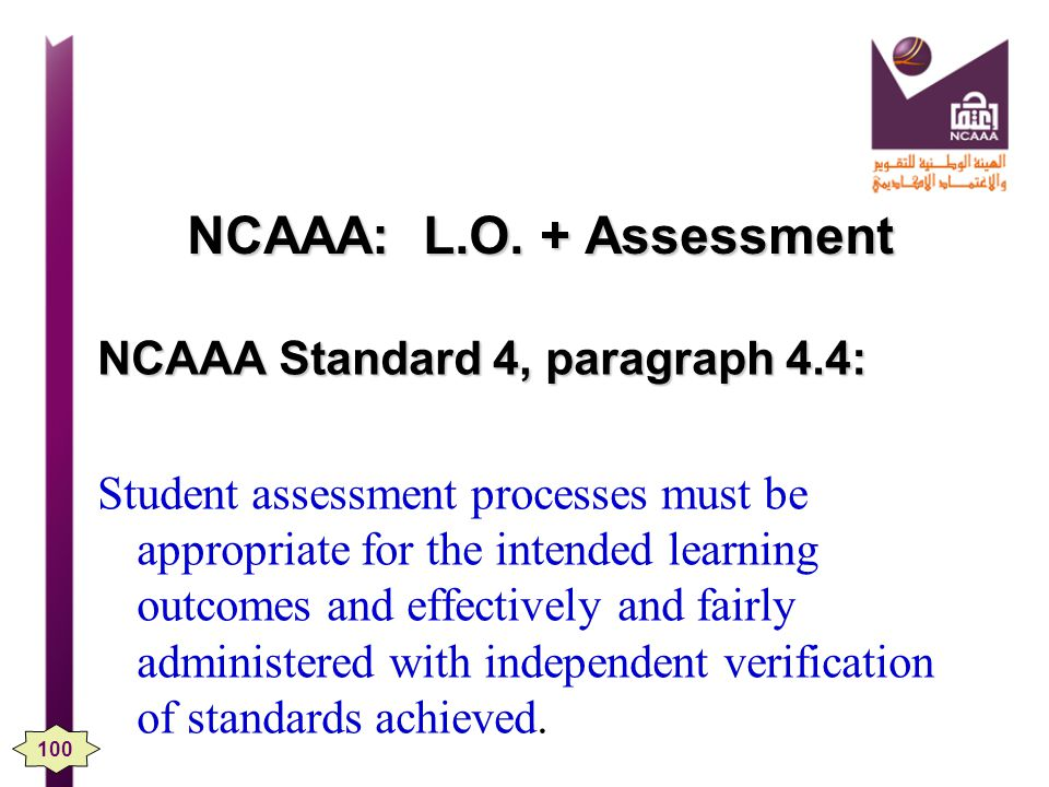 NCAAA: L.O. + Assessment