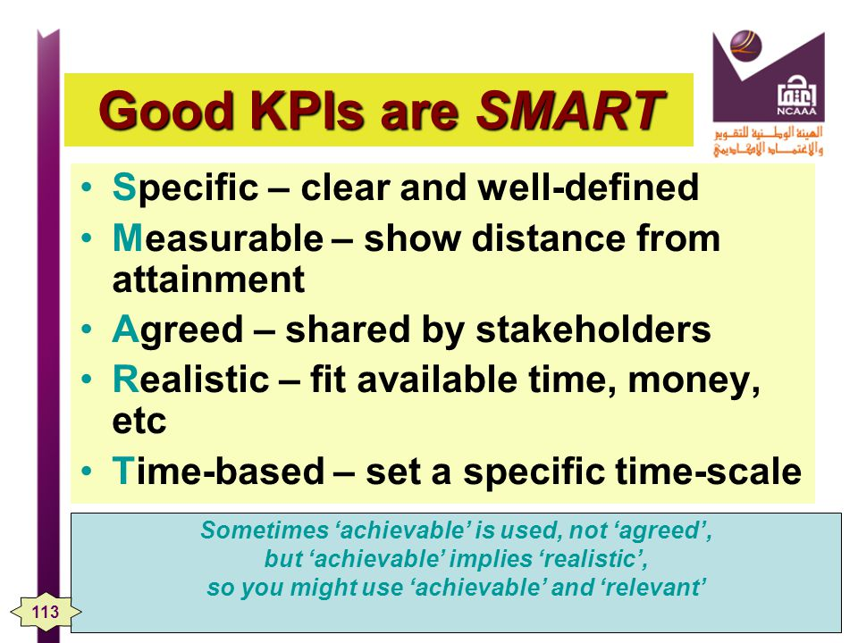 Good KPIs are SMART Specific – clear and well-defined