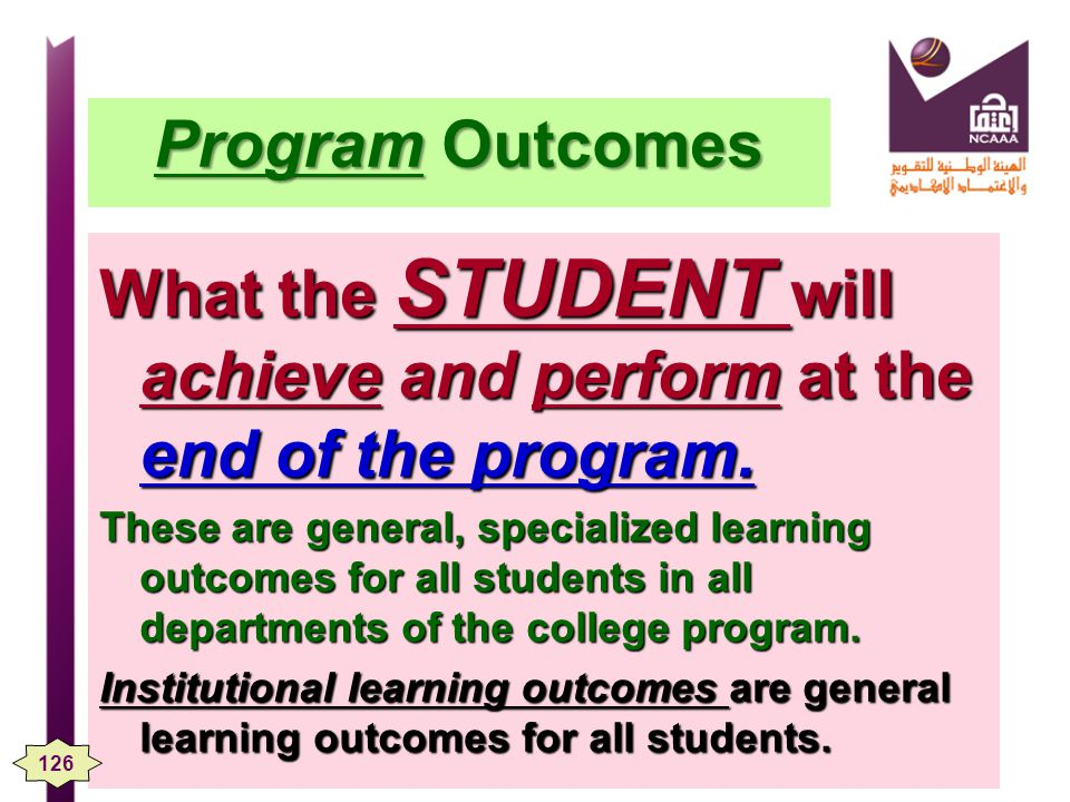 What the STUDENT will achieve and perform at the end of the program.