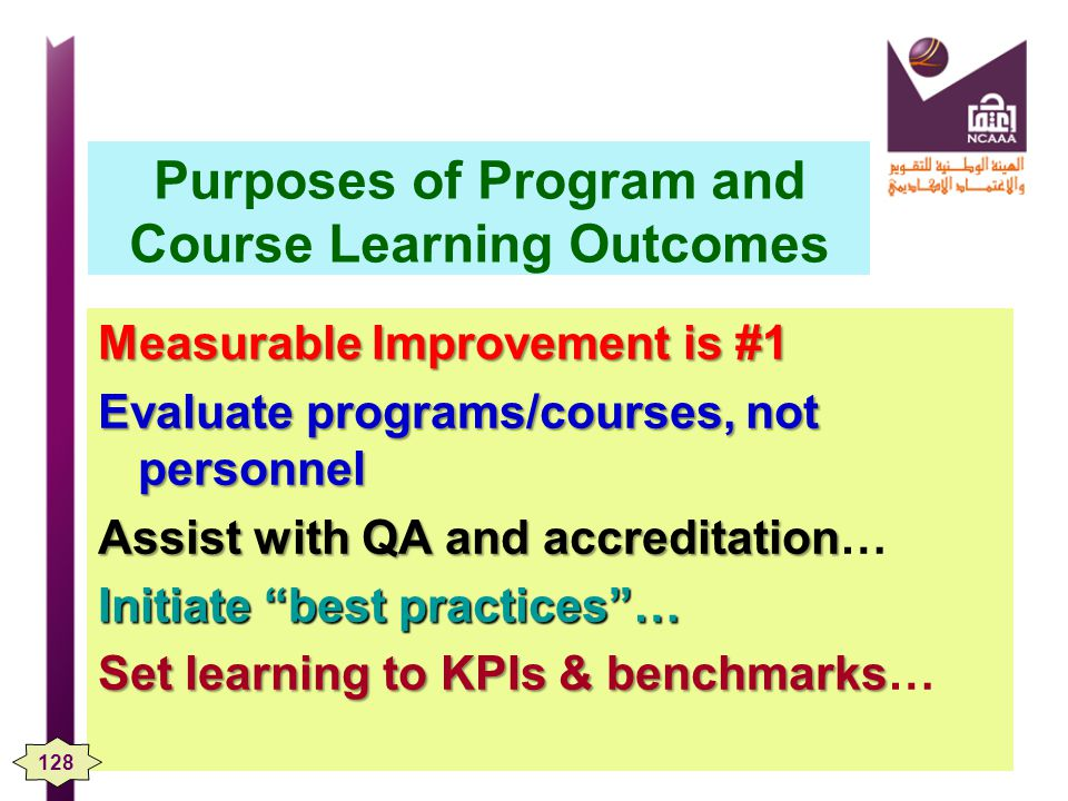 Purposes of Program and Course Learning Outcomes