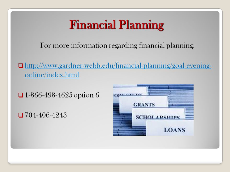 For more information regarding financial planning: