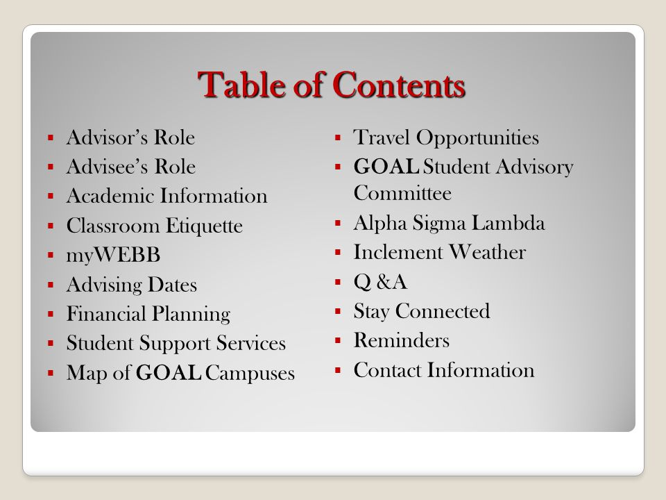 Table of Contents Advisor's Role Travel Opportunities Advisee's Role