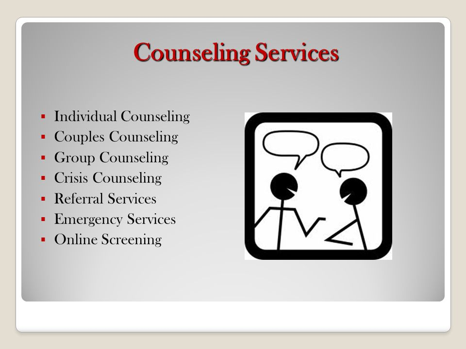 Counseling Services Individual Counseling Couples Counseling