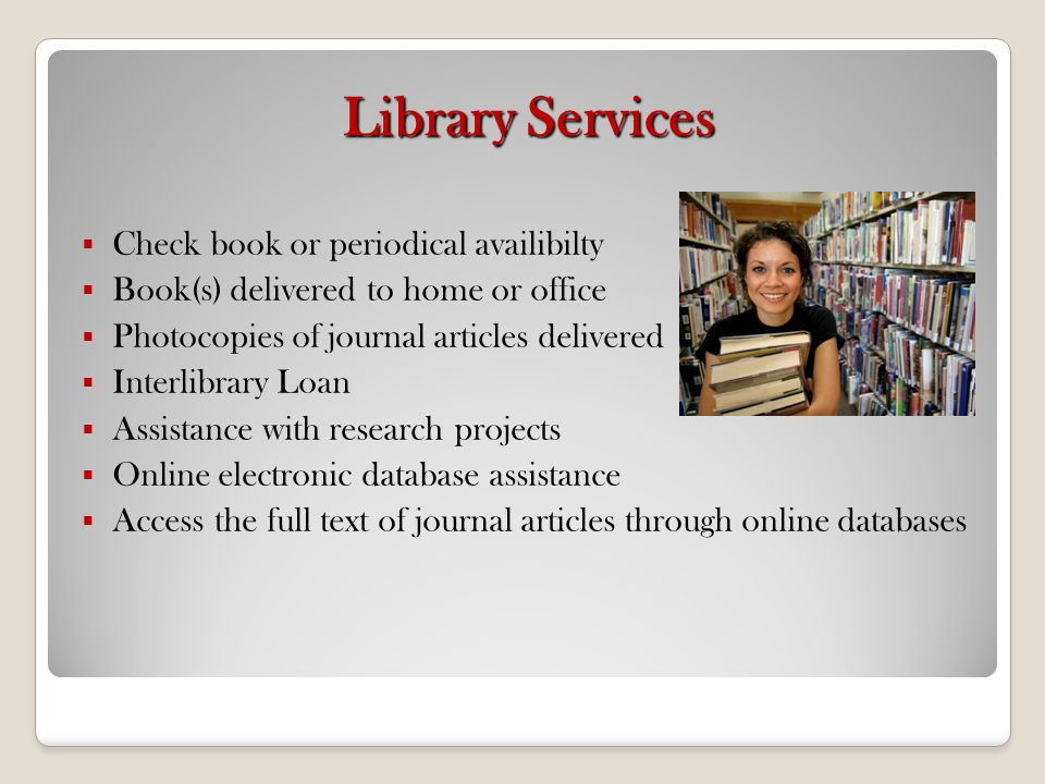 Library Services Check book or periodical availibilty