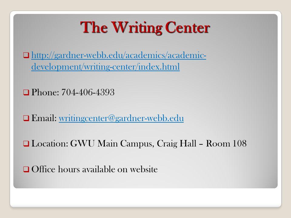 The Writing Center http://gardner-webb.edu/academics/academic- development/writing-center/index.html.
