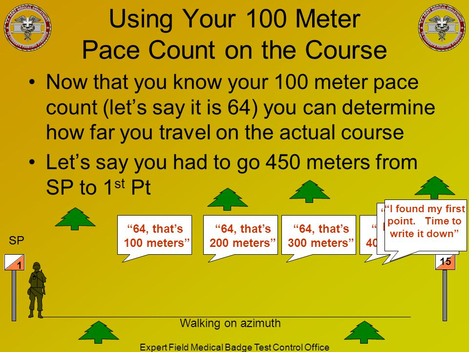 Using Your 100 Meter Pace Count on the Course