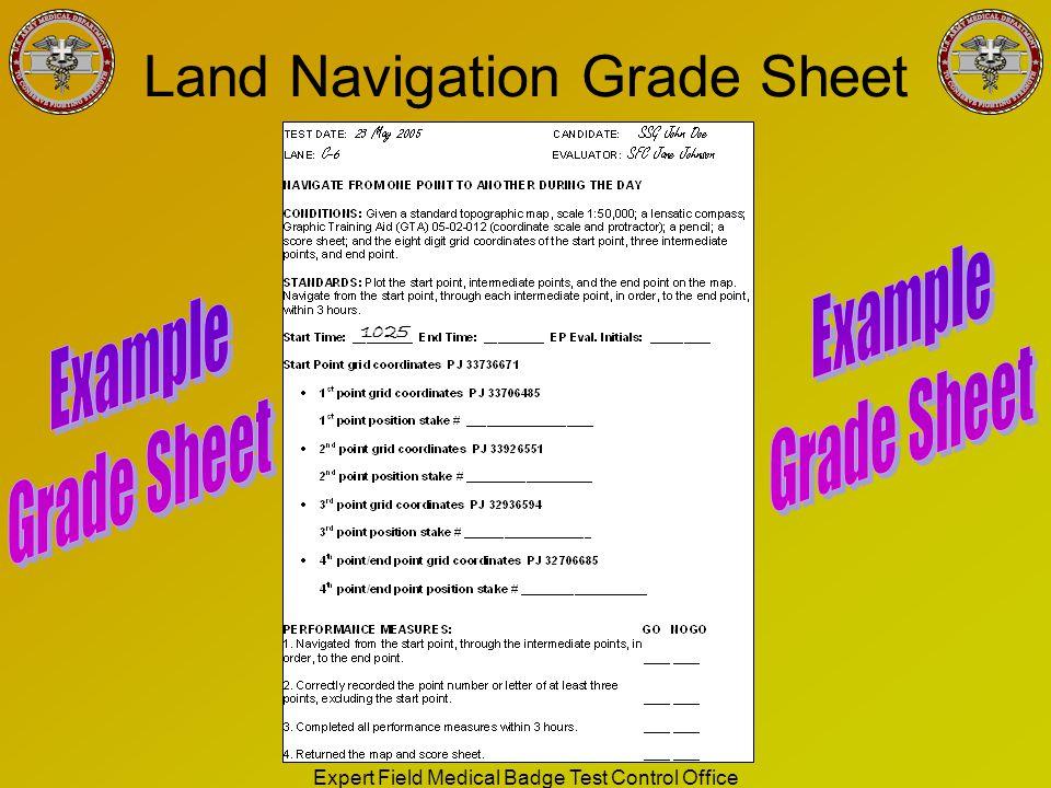 Land Navigation Grade Sheet
