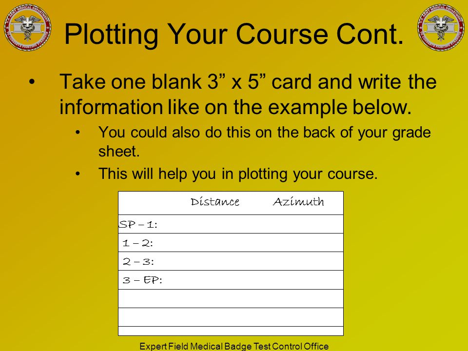 Plotting Your Course Cont.