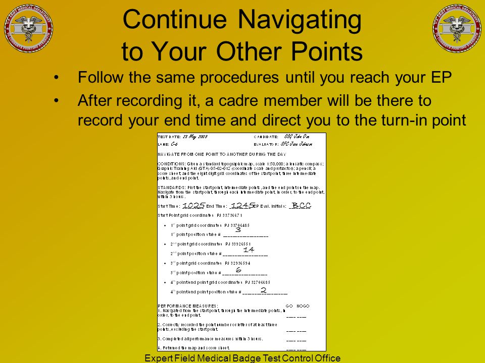 Continue Navigating to Your Other Points