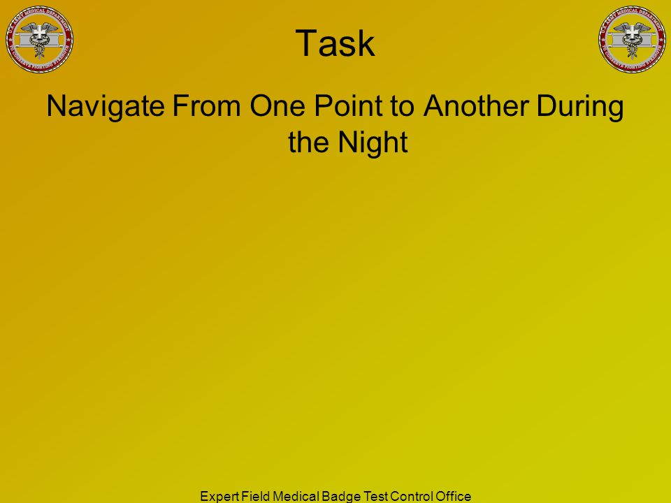 Task Navigate From One Point to Another During the Night