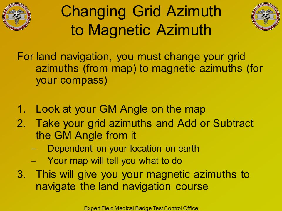 Changing Grid Azimuth to Magnetic Azimuth