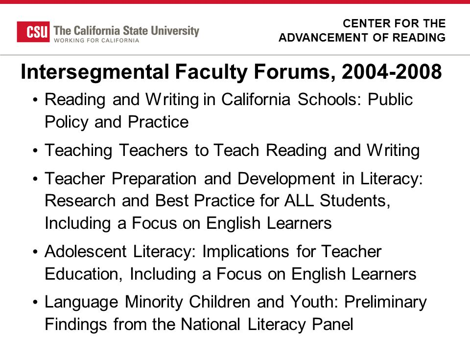Intersegmental Faculty Forums, 2004-2008