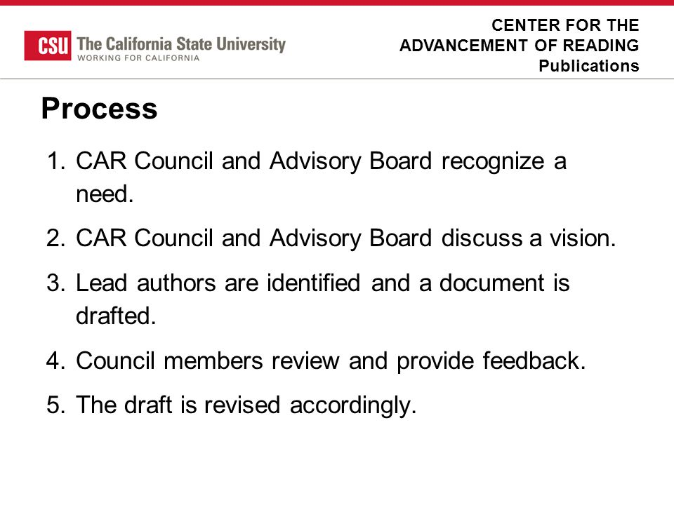 Process CAR Council and Advisory Board recognize a need.