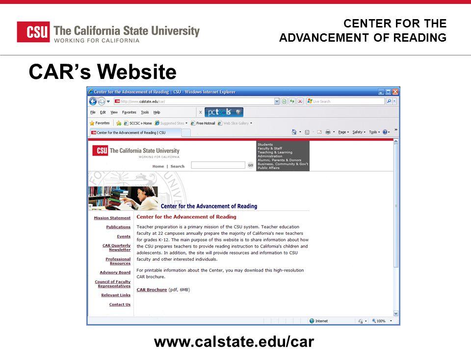 CAR's Website www.calstate.edu/car