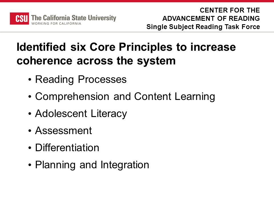 Identified six Core Principles to increase coherence across the system