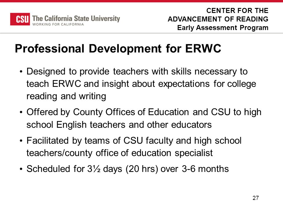 Professional Development for ERWC