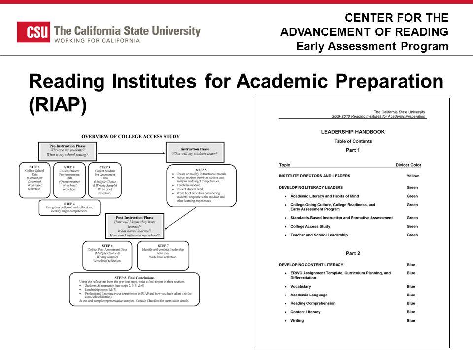 Reading Institutes for Academic Preparation (RIAP)