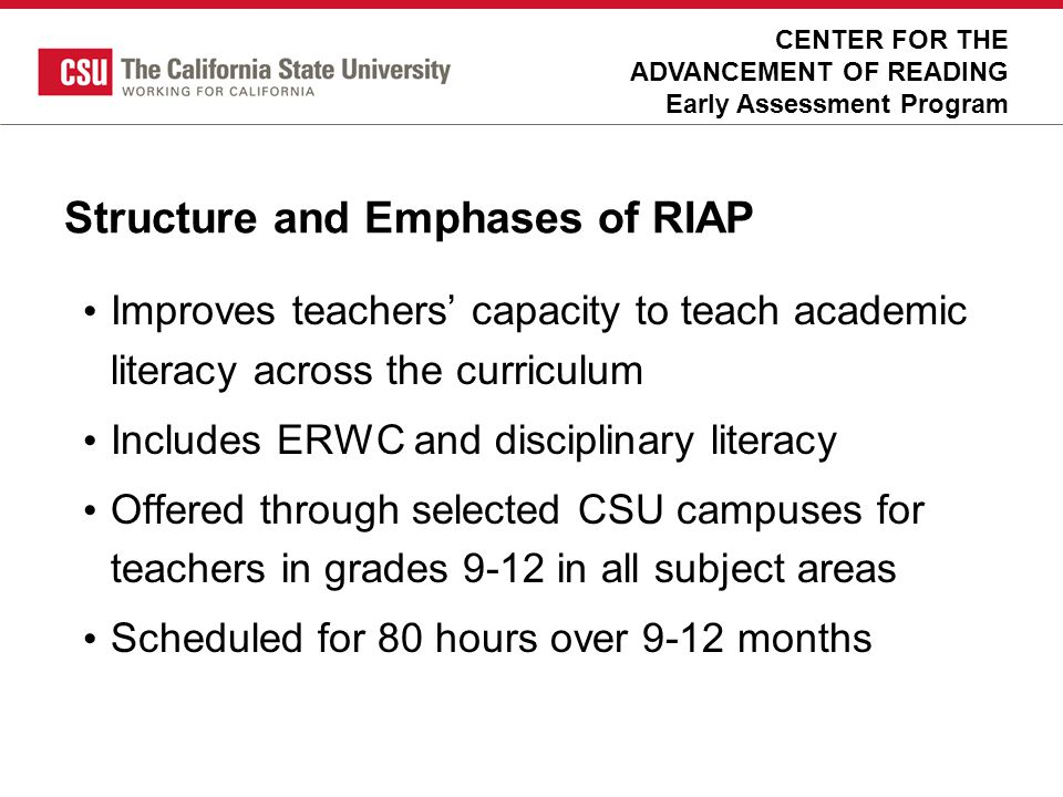 Structure and Emphases of RIAP