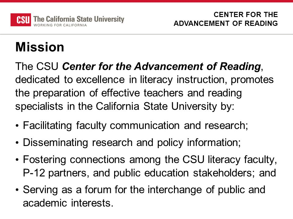 CENTER FOR THE ADVANCEMENT OF READING