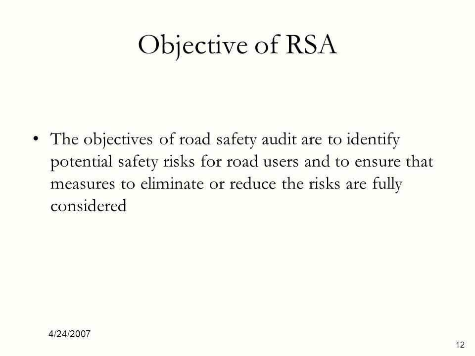 Objective of RSA