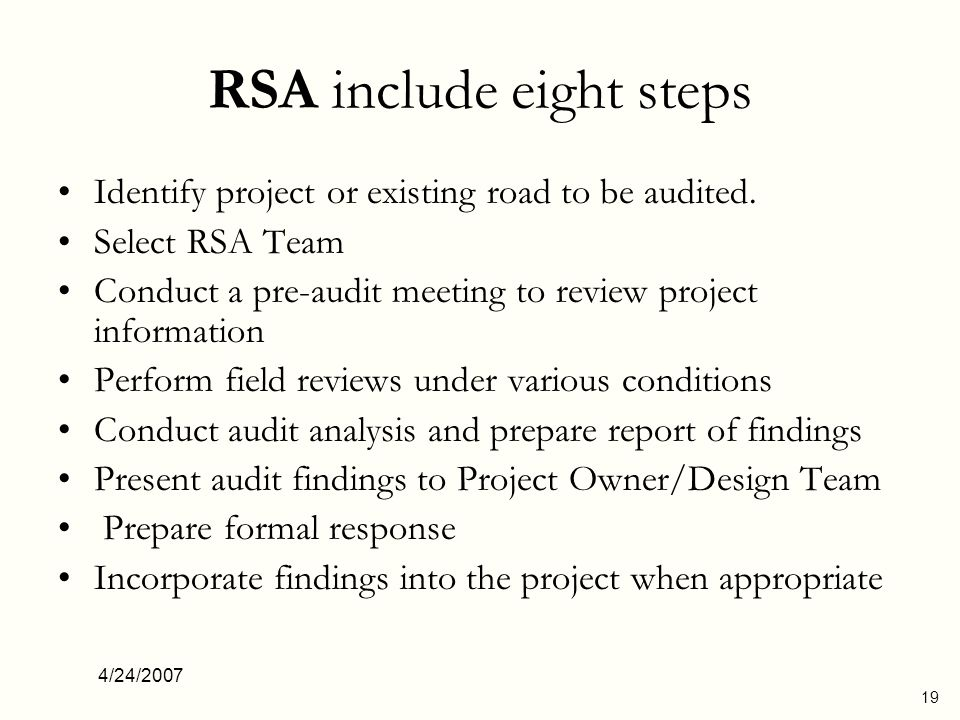 RSA include eight steps