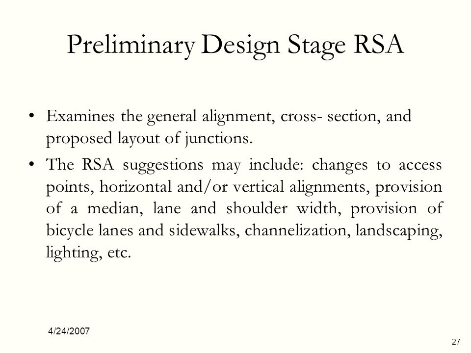 Preliminary Design Stage RSA