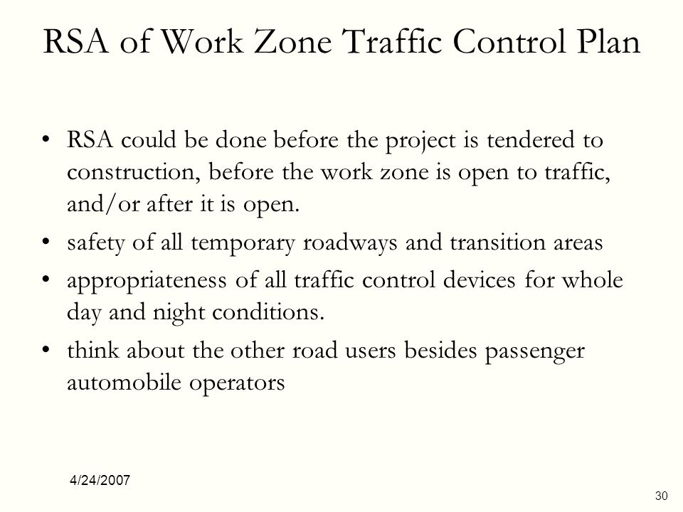 RSA of Work Zone Traffic Control Plan