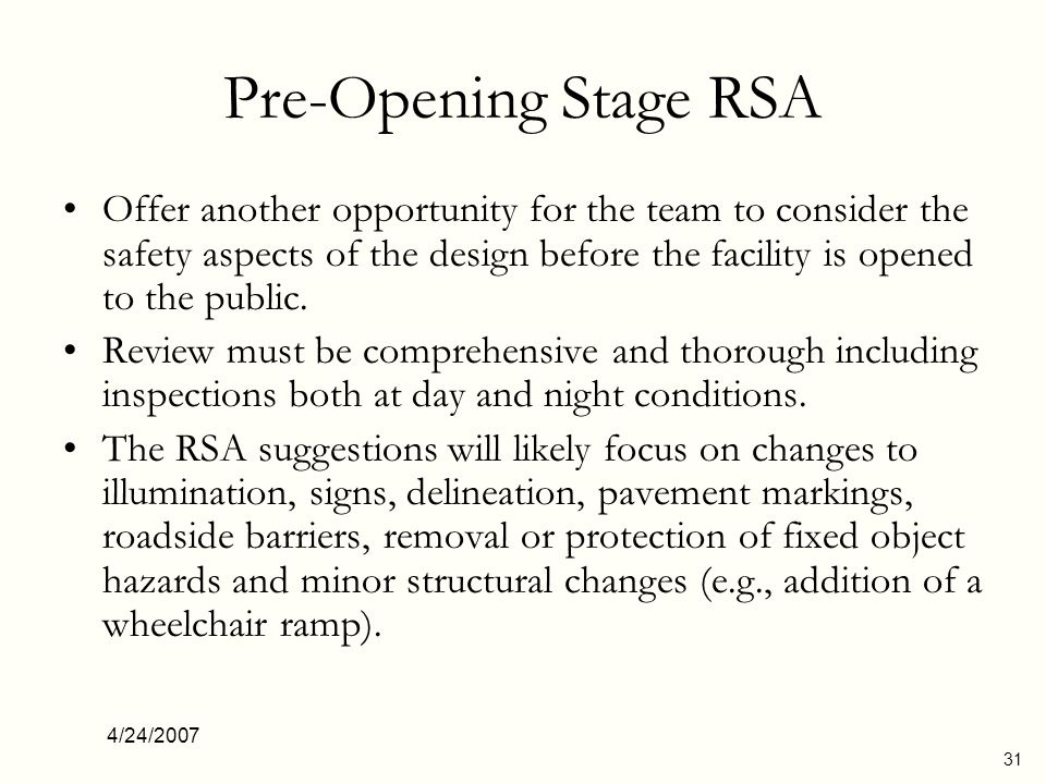 Pre-Opening Stage RSA