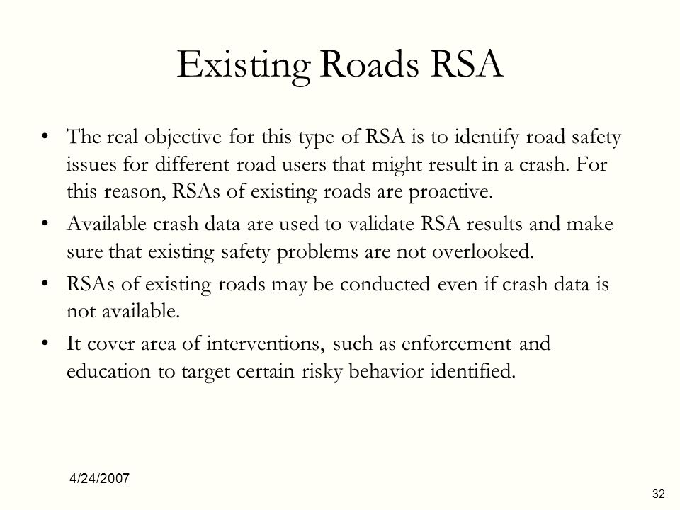 Existing Roads RSA
