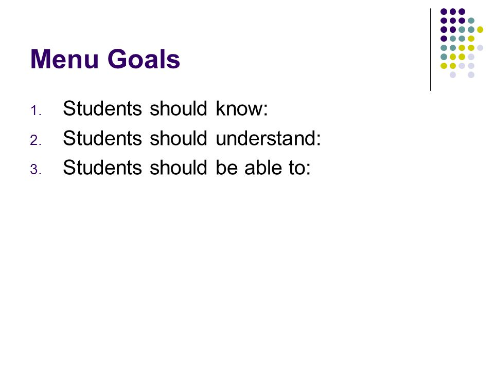Menu Goals Students should know: Students should understand: