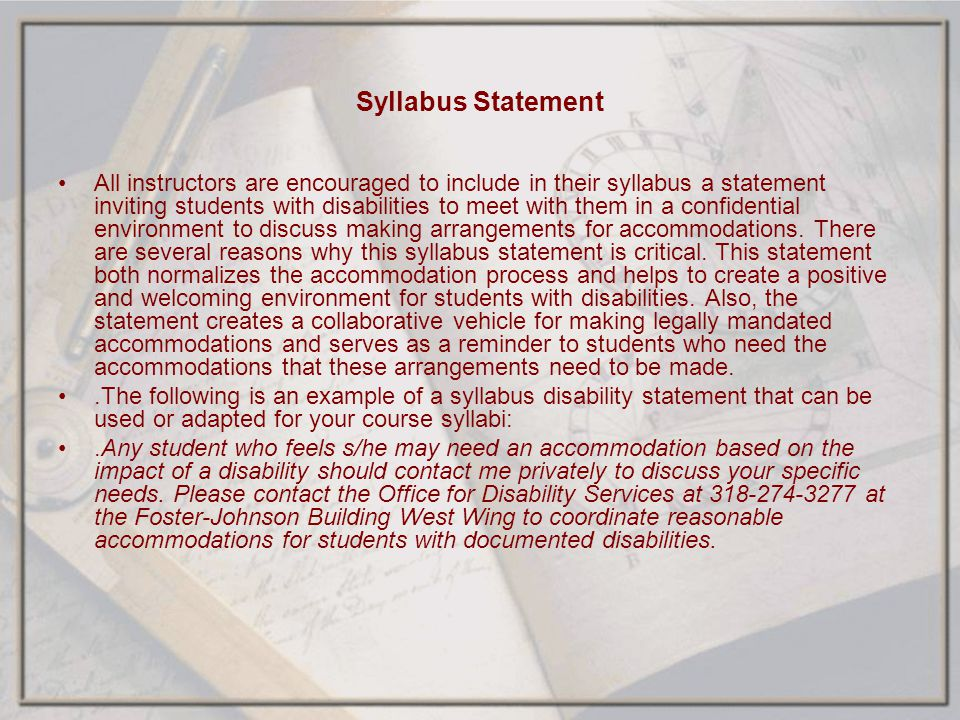 Syllabus Statement