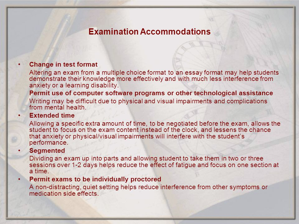 Examination Accommodations