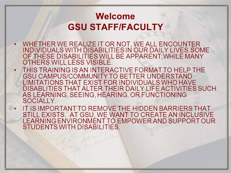 Welcome GSU STAFF/FACULTY