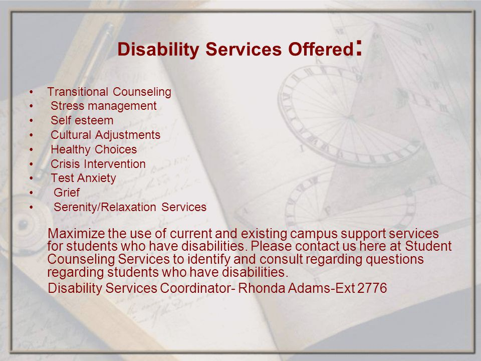 Disability Services Offered: