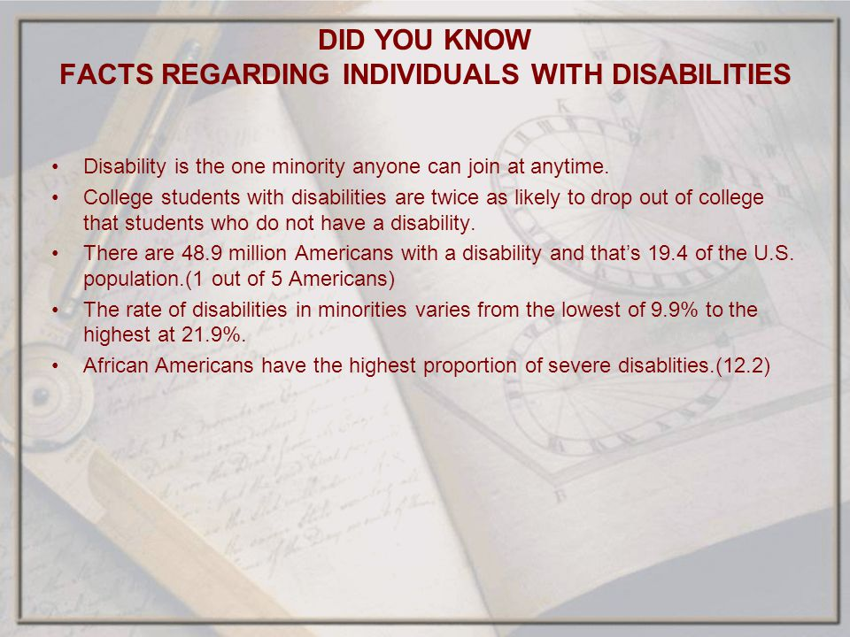 DID YOU KNOW FACTS REGARDING INDIVIDUALS WITH DISABILITIES