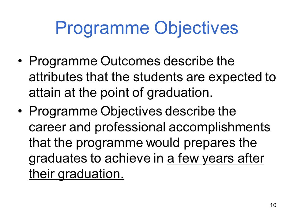 Programme Objectives Programme Outcomes describe the attributes that the students are expected to attain at the point of graduation.