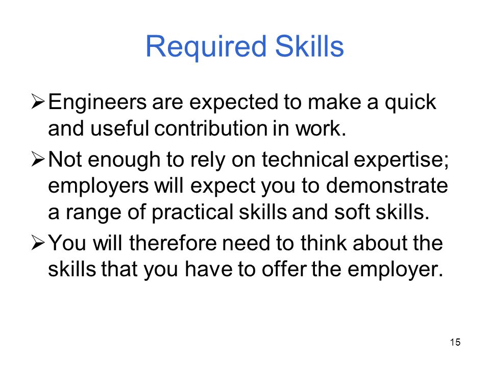 Required Skills Engineers are expected to make a quick and useful contribution in work.