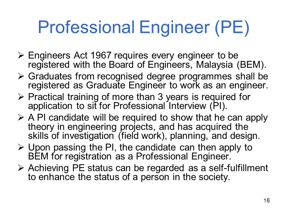 Professional Engineer (PE)