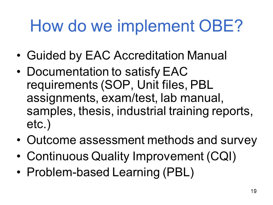 How do we implement OBE Guided by EAC Accreditation Manual