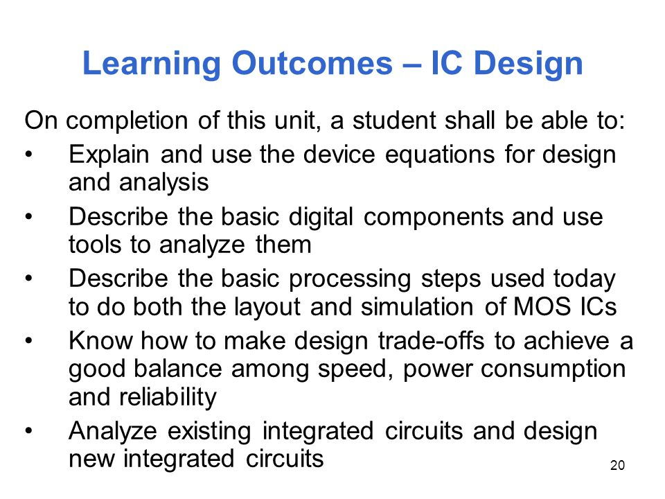 Learning Outcomes – IC Design