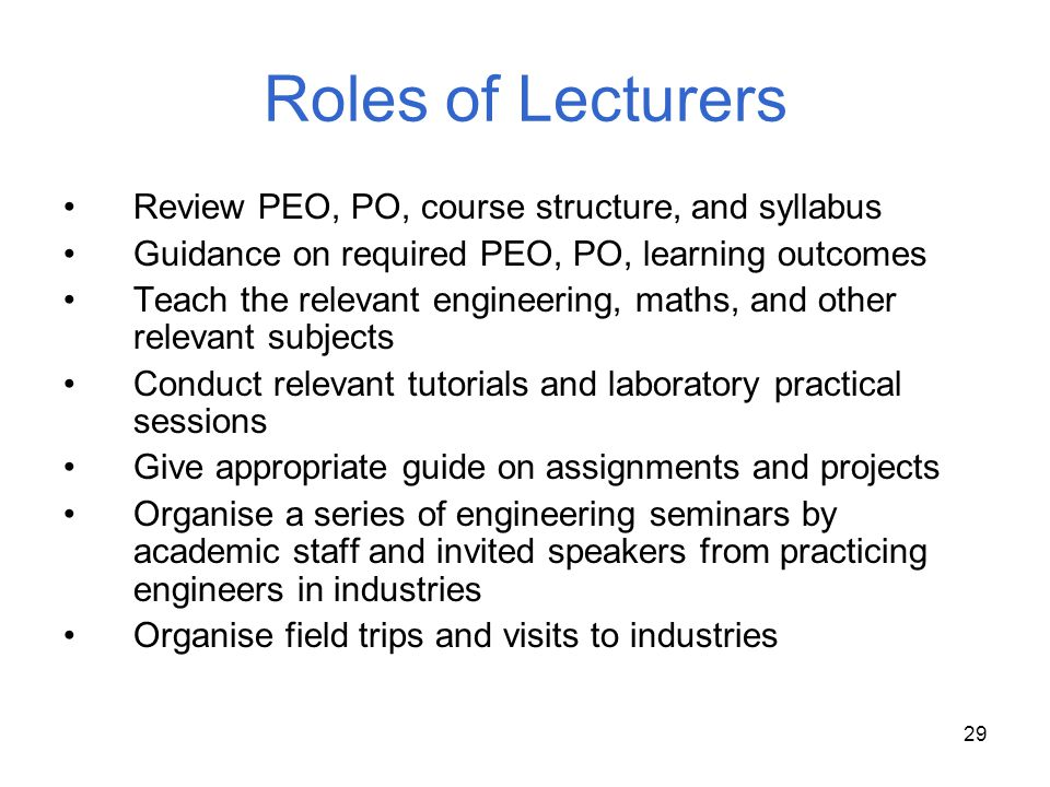 Roles of Lecturers Review PEO, PO, course structure, and syllabus