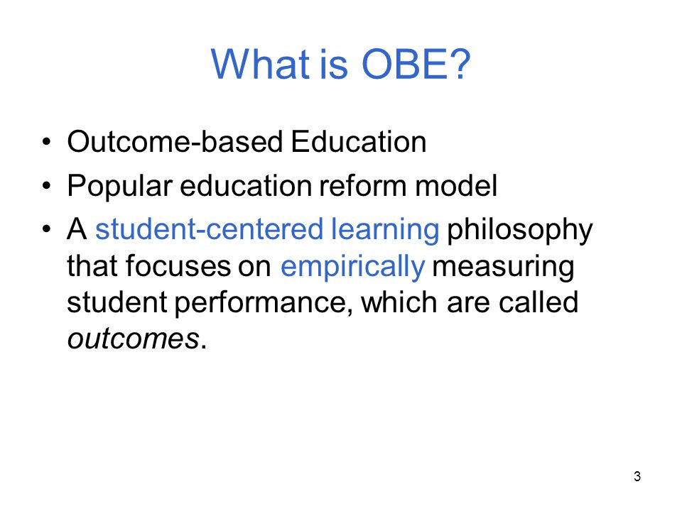 What is OBE Outcome-based Education Popular education reform model