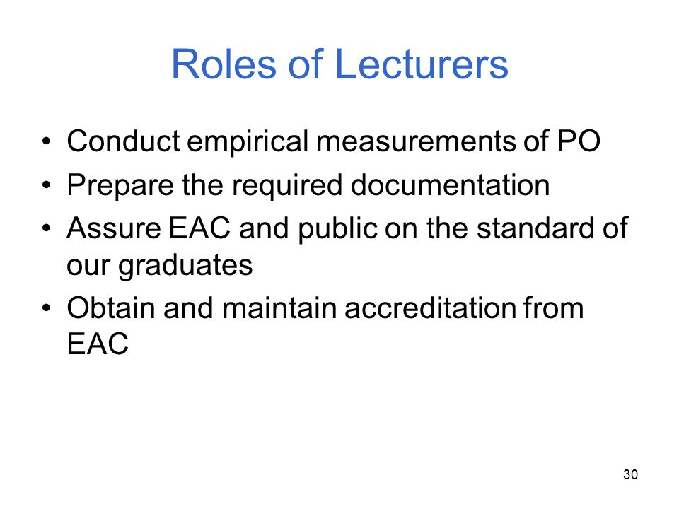 Roles of Lecturers Conduct empirical measurements of PO
