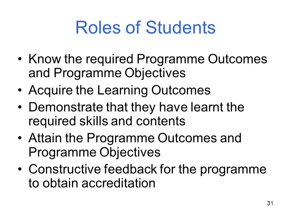Roles of Students Know the required Programme Outcomes and Programme Objectives. Acquire the Learning Outcomes.