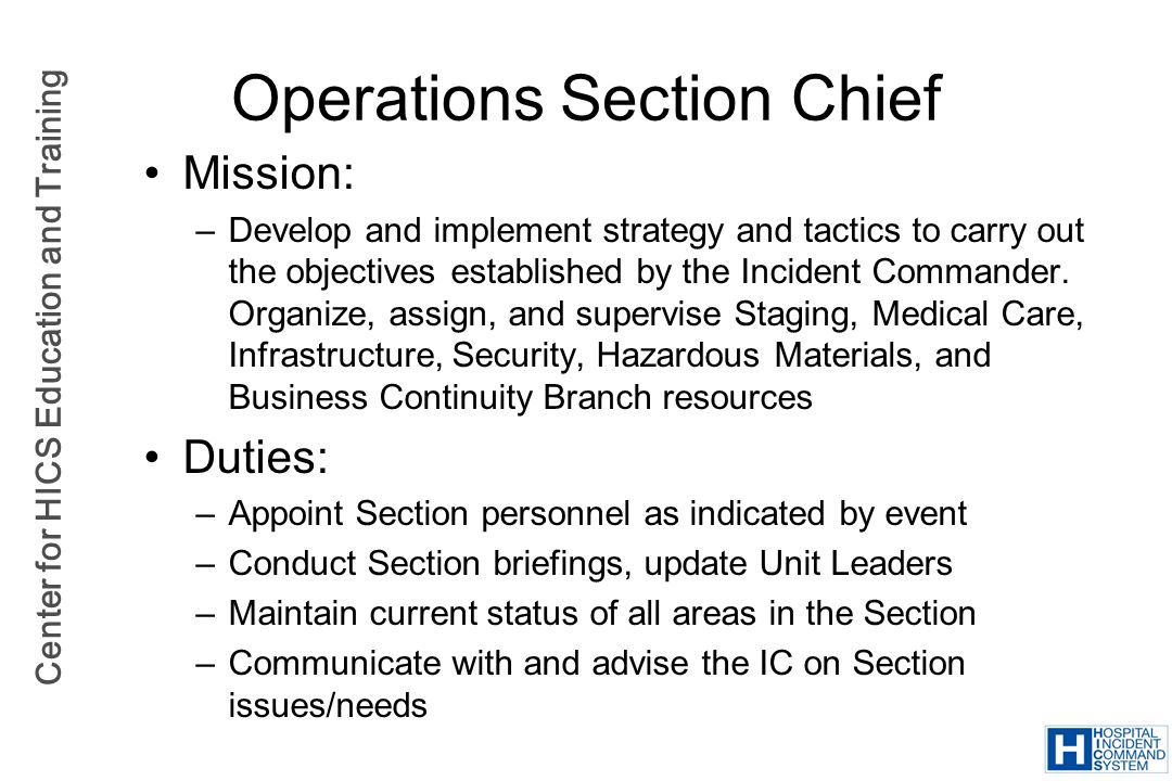 Operations Section Chief