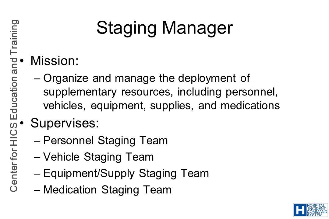 Staging Manager Mission: Supervises: