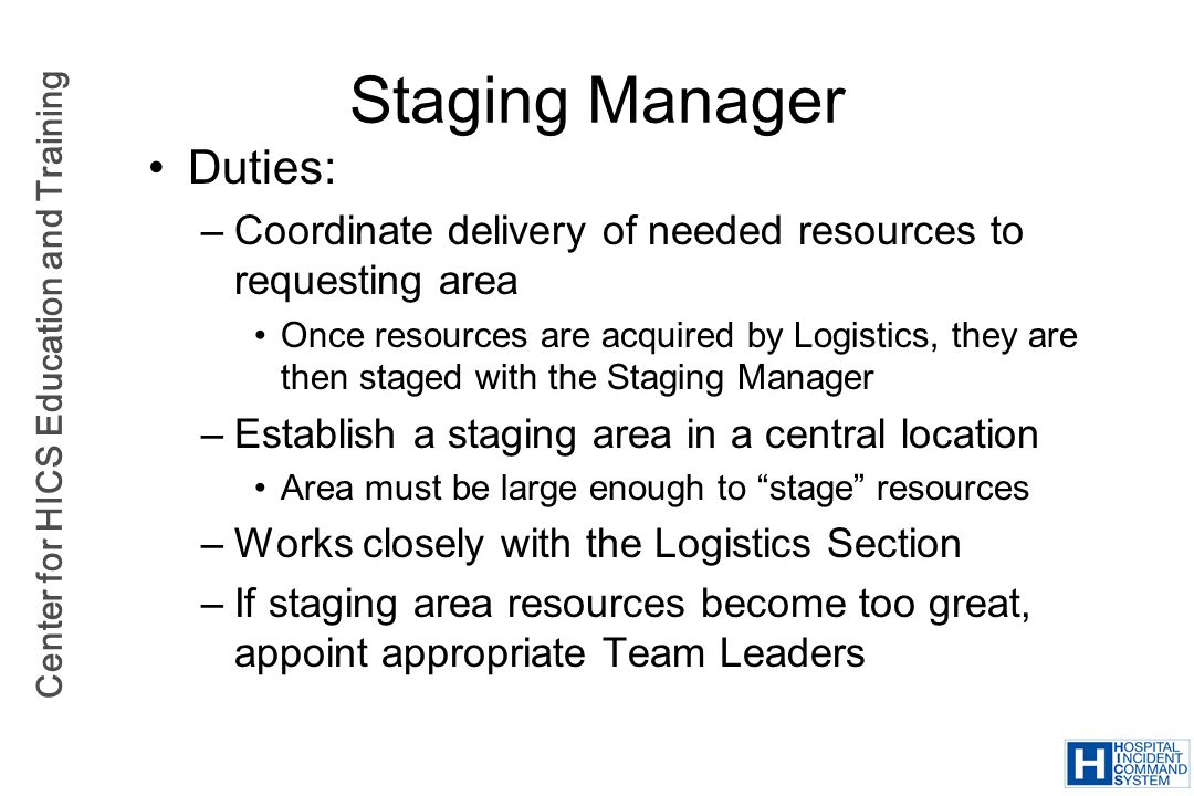 Staging Manager Duties: