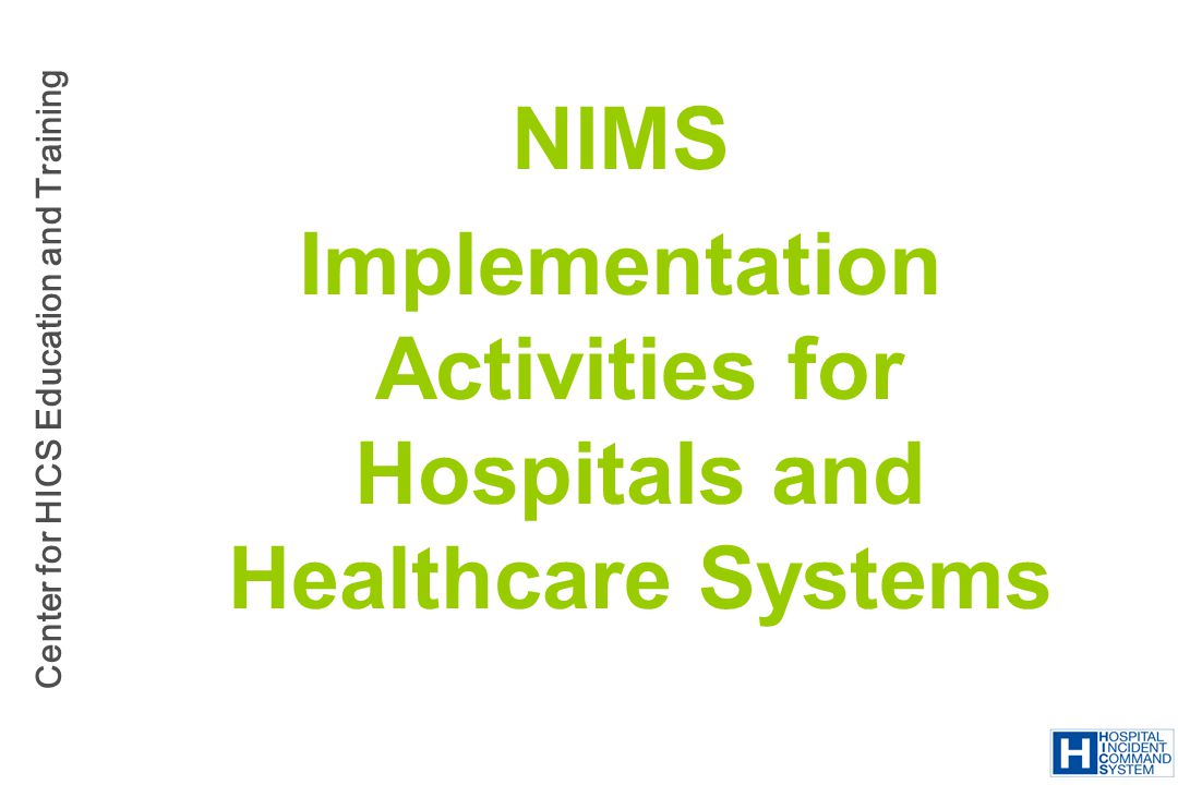 Implementation Activities for Hospitals and Healthcare Systems